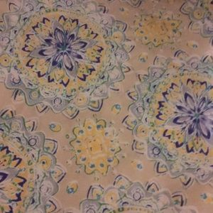 Tablecloth. Tan yellow blue green grey